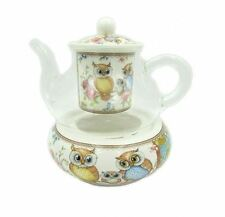 New Owls 400cc Glass Teapot w.Strainer&Base Fine Bone China Birthday Xmas Gift