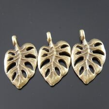 03103 Vintage Bronze Alloy Hollow Leaves Pendants Charms Finding Crafts 15pcs