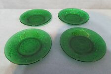 Vintage Anchor Hocking Forest Green Sandwich Glass Custard Cup Liner Set of 4