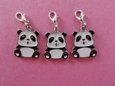 CUTE PANDA BEAR enamel clip on charm lobster clasp for charm bracelets
