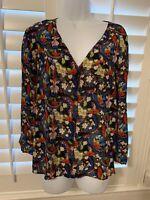 Alice + Olivia 3/4 Sleeve Blouse Floral Multi-color 100% Wrinkle Free SILK LG