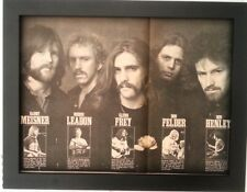 More details for the eagles*1st lineup*1975*original*newspaper poster*framed*fast world ship