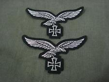 Set of 2 German Luftwaffe Silver Eagle with Iron Cross Woven Patches Sew On