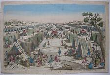 OPTICAL VIEW visionneuse Feuille Preußisches Campement militaire Orig CUIVRE Pli 1750
