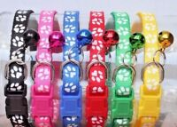 19 - 32cm with Bell Paw Print Collar Pet Cat Kitten Small Dog Puppy Bright Color