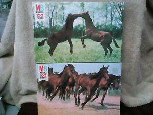LOT of 2! 1981 Milton Bradley 100pc Born Free Series Horse Puzzles #1 & 2 VTG