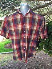 Men's Pendleton Medium Plaid SS Short Sleeve Shirt Button Front Cotton Linen M