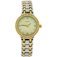 Sekonda Cream Dial Stone Set Bezel Two Tone Metal Bracelet Strap Watch SK4689
