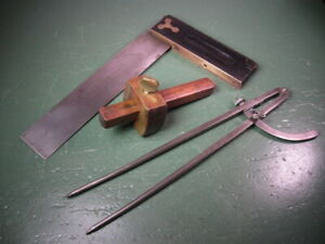 OLD USED VINTAGE WOODWORKING TOOLS SQUARES , DIVIDER, STANLEY AND MORE