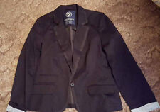 Misses American Eagle Blazer Black Cotton Lined Jacket Roll Cuff Button Size M