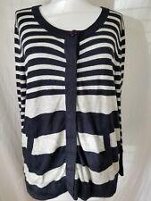Apriori Cardigan Sweater Sz 14 Cashmere Blend Pockets Black Gray Stripes Thin