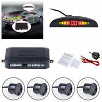 Black 4 Sensors Car Parking Reverse Backup Rear Buzzer Radar System Kit Alarm