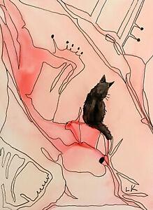 "ACEO Original Black Cat on line design painting by Lynne Kohler 2.5x3.5"""