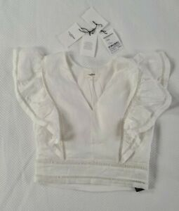 Women Isabel Marant Étoile Linen White April Crop Top Size 38 Used