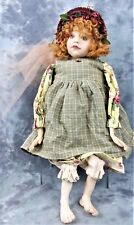 "2002 Country Doll ""Lucy"" By Artist Dianne Adam 23"" Fabric & Resin Made In U.S.A."
