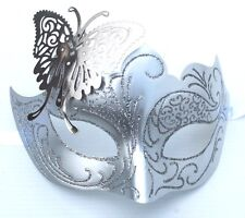 SPARKLING SILVER & WHITE BUTTERFLY  VENETIAN MASQUERADE CARNIVAL PARTY EYE MASK