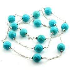 Necklace natural blue turquoise gemstone 925 sterling silver beaded jewelry 37gm