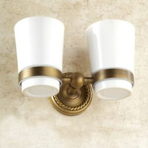 Antique Brass Wall Mount Bathroom Toothbrush Holders Double Ceramic Cups ZD637