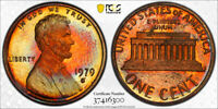 1979-S Lincoln Memorial Cent Penny 1c PCGS PR66 RB  AWESOME RARE RAINBOW TONING
