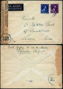 M452 Belgium censored cover Switzerland Bruxelles Lucerne 1945