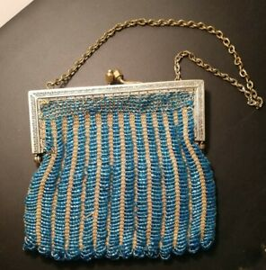 Vintage Blue Micro Glass Beaded Flapper Purse Art Deco 1920s Bag Handbag Jazz