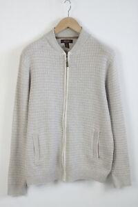 TASSO ELBA Men'S LARGE Wool Blend Full Zip Bomber Type Cardigan Sweater 22526-S