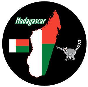 Madagaskar Karte / Flagge - Souvenir Neuheit Rund Kühlschrank Magnet - Gifts /