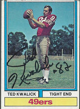 San Francisco 49ers TED KWALICK Signed Card