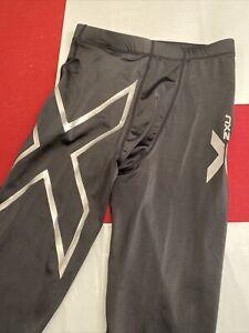 2XU Men's Black Silver Compression Tights Sz L Drawstring Elastic Waist EUC