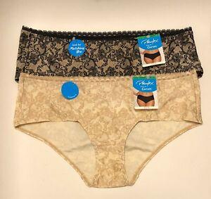 NWT 2 Playtex Love My Curves Cheeky Hipster Panties PSCHHL Black/Beige Sz Large