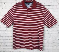 Tommy Hilfiger Golf Mens Polo Shirt Red White Blue Stripe Size XL Short Sleeve