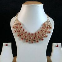 RED GOLD INDIAN COSTUME JEWELLERY NECKLACE EARRINGS CRYSTAL DIAMOND SET NEW 55
