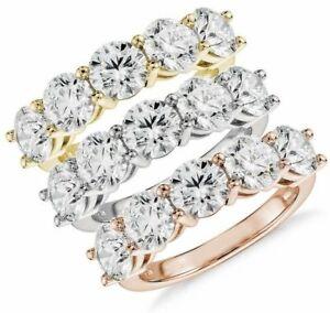 Five Stone Lab Diamond Ring Wedding Anniversary Band in 14k White Gold 3.01 Ct