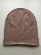 100% Pure Cashmere Light Nude Pink Rose 'Slouch' Beanie Hat Plain Headwear BNWT