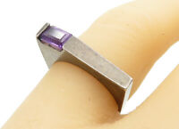 925 Sterling Silver - Vintage Amethyst Accented Square Band Ring Sz 7 - R12931