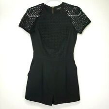 Topshop Women's Romper 4 Black Lace Sleeves Shorts Exposed Zipper Pockets