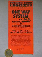 One Way System (Punk) 2001  Concert Ticket Konzertkarte Eintrittskarte