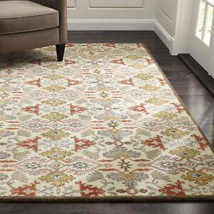 Crate & Barrel Delphine Orange 8' x 10' Handmade 100% Wool Area Rugs & Carpet