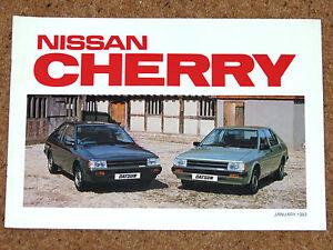 1982-83 NISSAN CHERRY Sales Brochure - DX GL 1.0, 1.3, 1.5