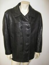 SCHOTT 740N Black Leather Pea Coat USA MADE Size 44