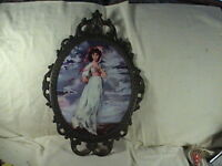 Ornate Metal Bubble Glass Picture Frame With Print Of Beautiful Girl,  Italy