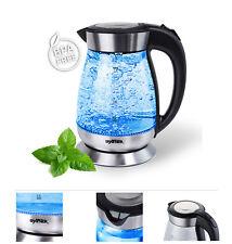 Grafner Glas Wasserkocher mit LED Beleuchtung 2200W Teekocher kabellos Edelstahl