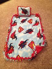 Hand-Tied Fleece Blanket/Throw/Pillow Superman NEW Nap Set