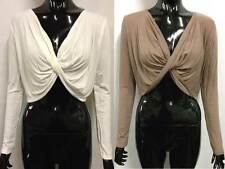 NEW WOMENS V NECK TWISTED FRONT LONG SLEEVE LADIES SHRUG CROP TOP.SIZE S/M. M/L.