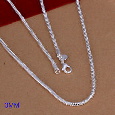 Lowest price wholesale 1PCS solid silver 3MM snake chain necklace  DC07