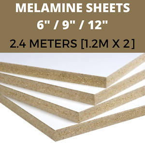 """15MM White Melamine Chipboard Sheets Conti Boards Shelving 6"""" 9"""" 12"""" - 2.4M -"""