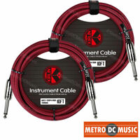 """2-Pack Kirlin 10ft Red Woven Guitar Bass Instrument Cord Cable 20AWG 1/4"""" NEW"""