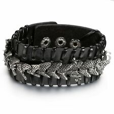 Mens Punk Wide Leather Braided Wristband Bangle Dragon Charm Cuff Bracelet