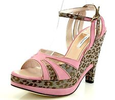 Pollini AEFF Cheetah Print Pink Suede Wedge Sandals 7399 Size 40 EU NEW!