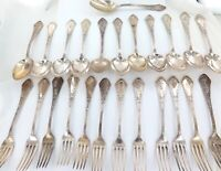 .ANTIQUE POLISH .800 SILVER 24 PC MATCHING SET 12 LARGE DESSERT SPOONS & FORKS